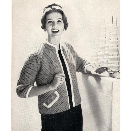 Easy Knitted Jacket Pattern with Contrast Trim