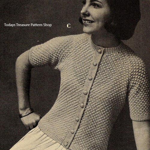 Short Sleeve Puff Stitch Cardigan Knitting Pattern