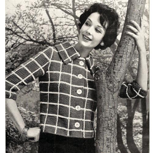 Knitting Pattern Plaid Short Jacket