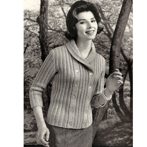 Double Breasted Cardigan Knitting Pattern from Columbia Minerva