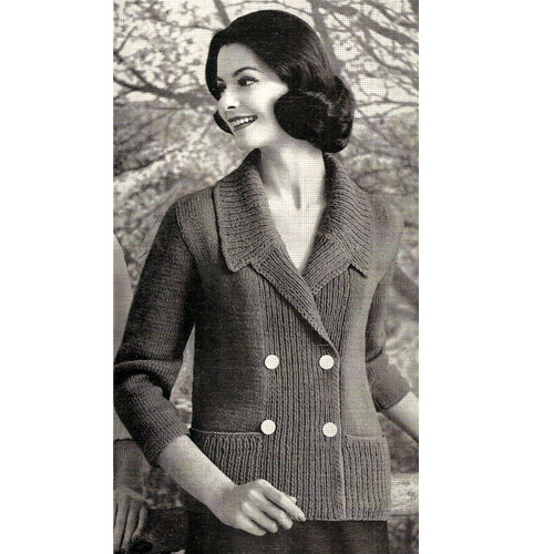 Knitting Pattern Double Breasted Jacket with three quarter sleeves