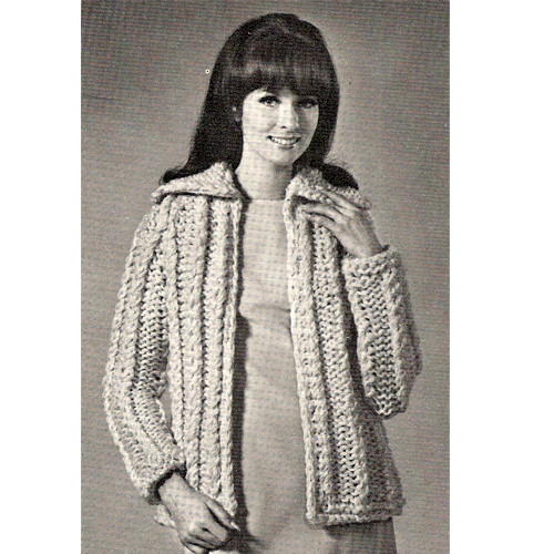 Big Needle Cardigan Knitting Pattern from American Thread