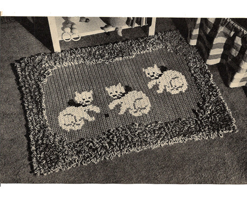 Vintage Kitten Crochet Rug Pattern in Loop Stitch