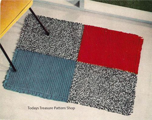 Crochet Color Block Rug Pattern
