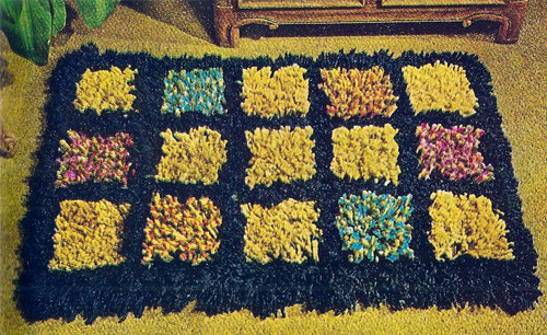 Crocheted Color Block Rug pattern