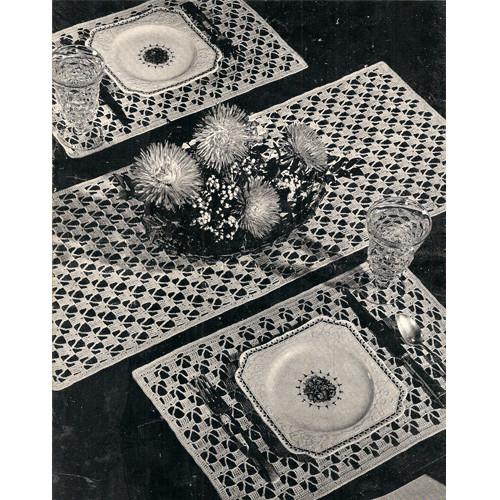 Vintage Crochet Luncheon Set Pattern, Mats & Runner