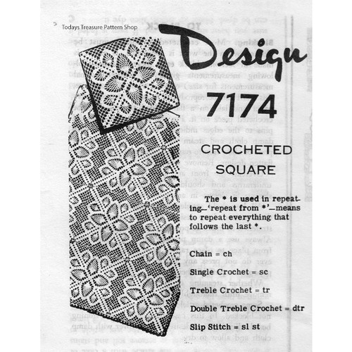 Mail Order Design 7174, Crochet Square Pattern