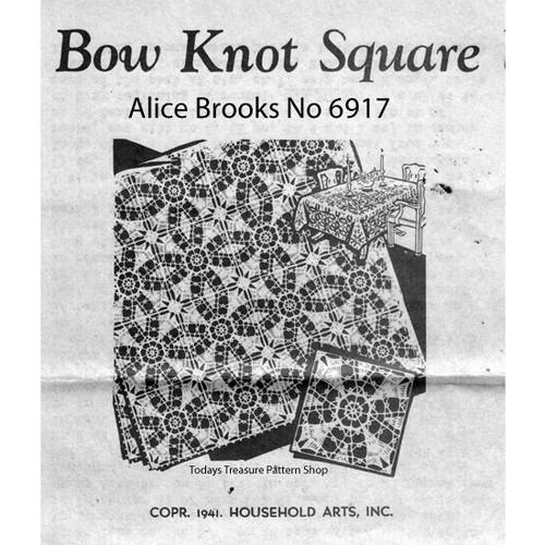 Alice Brooks 6917, Crochet Bow Knot Square Pattern