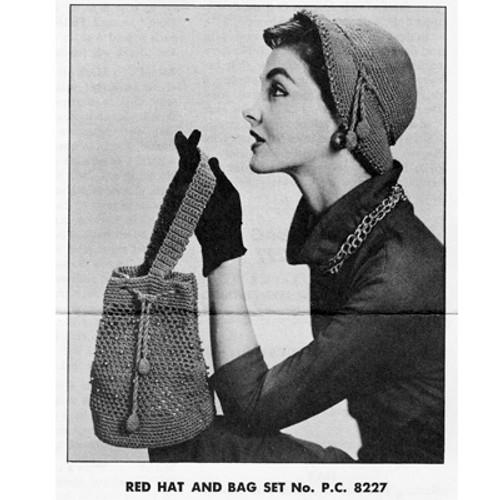 Crochet Beaded Hat and Handbag Pattern, Vintage 1950s
