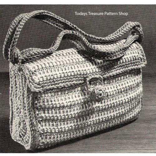 Vintage Striped Satchel Bag Crochet Pattern