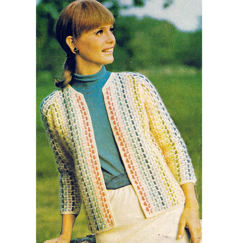 Crochet Open Front Jacket Pattern with Woven Stripes