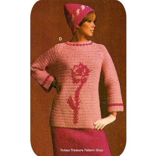 Crochet Flower Tunic Pattern with Cap