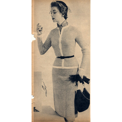 Vintage Knitted Suit Pattern with Contrast Trim
