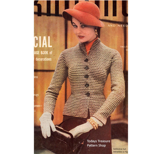 Knitted Pepum Suit Pattern, Vintage 1950s