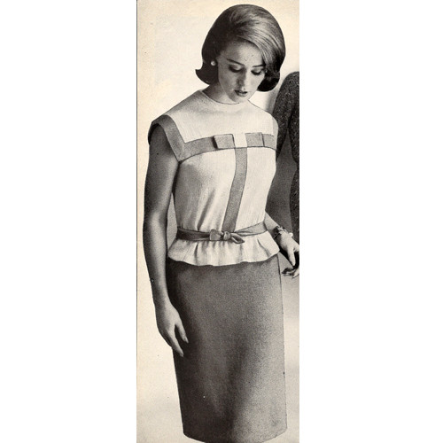 Vintage Two Piece Knitted Dress Pattern with Ribbon Trim