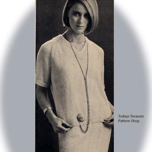 Two Piece Knit Raglan Dress Pattern, Vintage 1960s