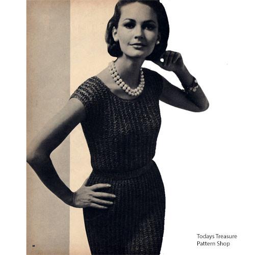 Low Cut Ribbon Dress Knitting Pattern