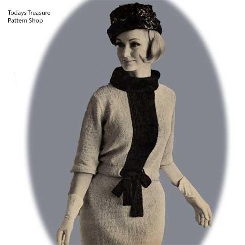 Cowl Neck Stripe Dress Knitting Pattern