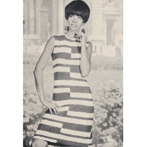 Vintage Knitted Split Stripe Dress Pattern