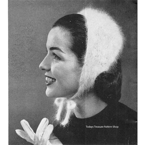 Crochet Angora Cuddlecap Pattern, Vintage 1950s