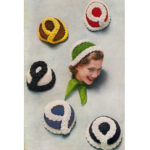 Colorful Crochet Beanie Pattern, Vintage 1950s