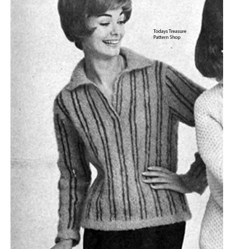 Knitting Pattern Striped Shirt with V-Neck