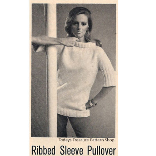 Ribbed Pullover with Cowl Neck Pattern