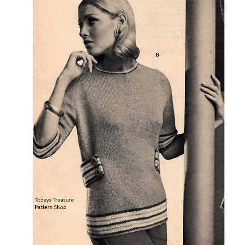 Long Knitted Tunic Pattern, Vintage 1960s