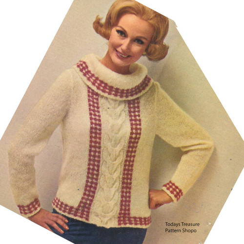 Cowl Neck Cable Pullover Pattern with Gingham Trim