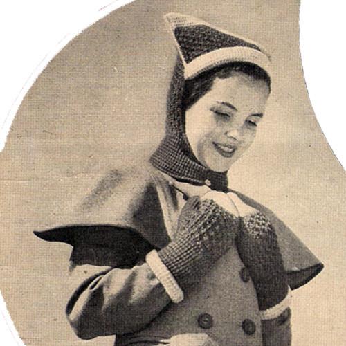 Vintage 1940's Crochet Helmet Mittens Pattern