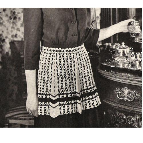 Crochet Striped Apron Pattern, Vintage 1950s