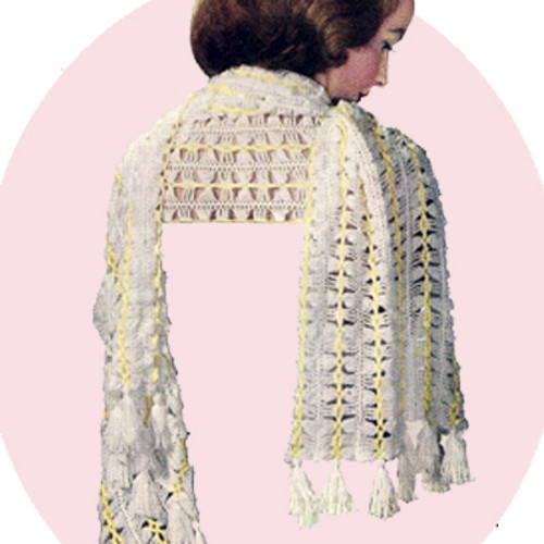 Narrow Crochet Stole Pattern with Fringed Ends