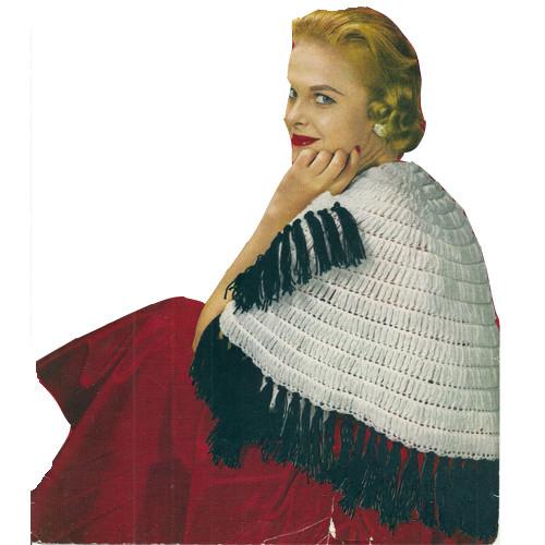 Crochet Puff Stitch Stole Pattern, Vintage 1950s