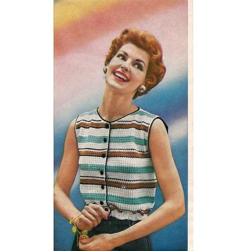 Striped Sleeveless Shell Crochet Pattern