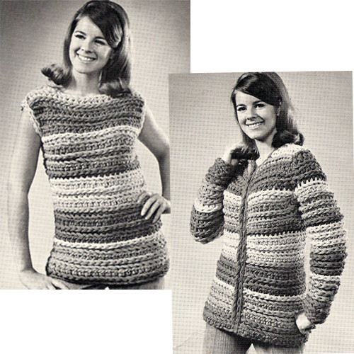 Big Needle Striped Coat Crochet Pattern with zipper closure