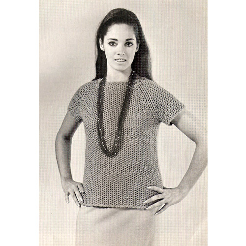 Easy Crochet Blouse Pattern, Vintage 1960s