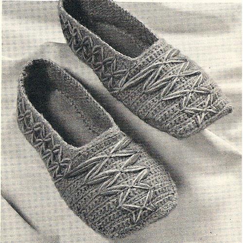 Vintage Crochet Oriental Slippers Pattern