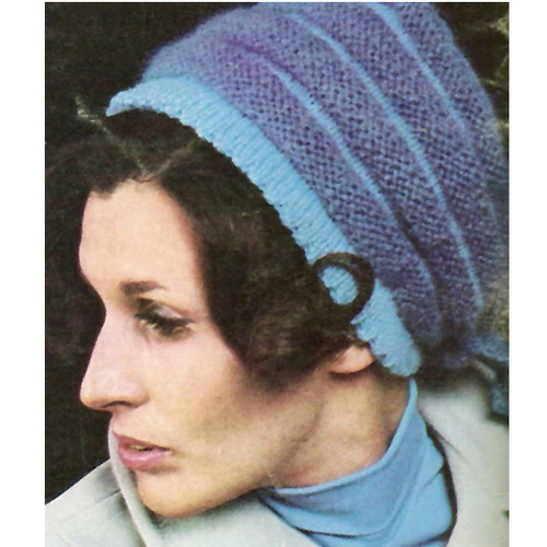 Striped Mohair Hat Pattern with Back Ties
