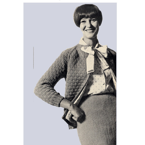 Easy Knitted Suit Pattern with Jacket Skirt in Pauline Denham Sequoia