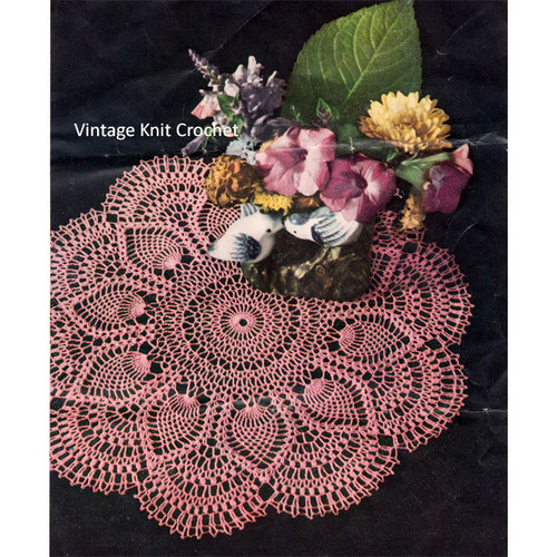 Pineapple Shell Crochet Doily Pattern in Pink Thread