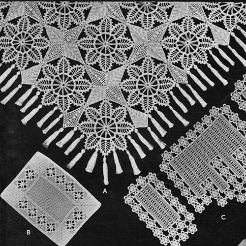 Vintage Crochet Bedspread Pattern Stars Flowers