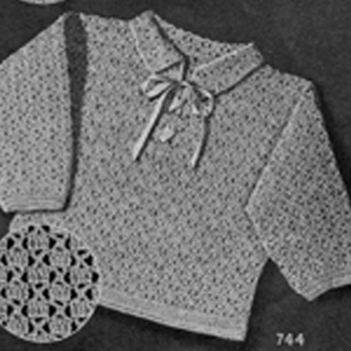 Crochet Baby Girl Sweater Pattern with laced ribbon ties