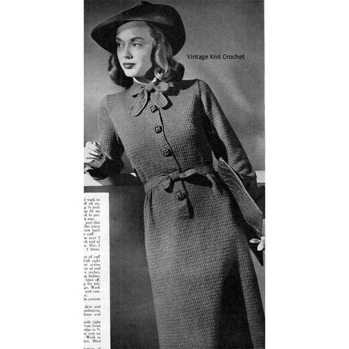Vintage 1940's Dress Knitting Pattern in Knit Purl