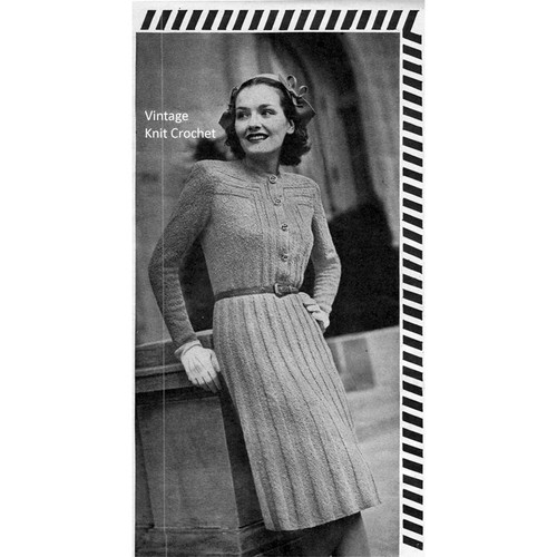 Vintage 1940s Ribbed Dress Knitting Pattern, Long Sleeves