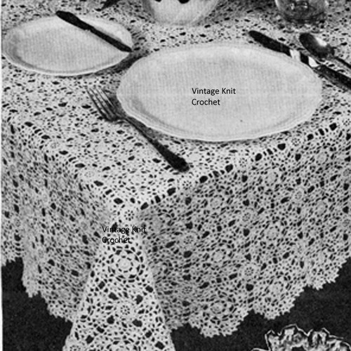 Vintage 1944 Lace Crochet Tablecloth pattern