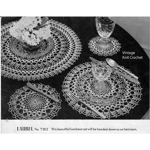 Laurel Luncheon Set No 7262 Crochet Pattern