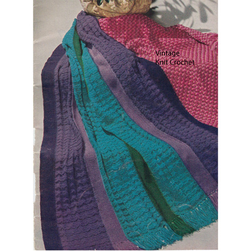 Knitted Persian Stripe Afghan Pattern from American Thread