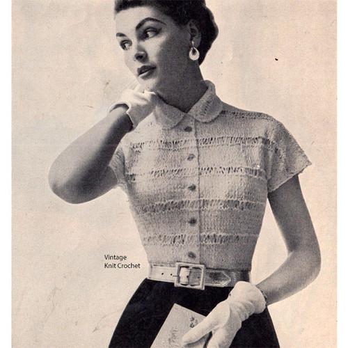 Knitted Short Sleeve Ribbon Blouse Pattern