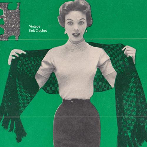 Openwork Filet Crochet Stole Pattern, Vintage 1950s