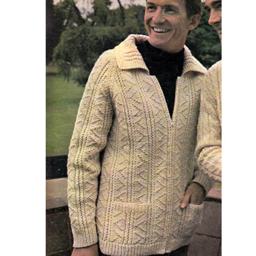 Mens Cardigan Knitting Patterns : Vintage Mans Zippered Jacket Knitting Pattern